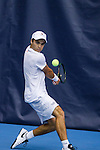 24 MAY 2016:  Virginia's Henrik Wiersholm hits the ball during singles play. The Division I Men's Tennis Championship is held at the Michael D. Case Tennis Center on the University of Tulsa campus in Tulsa, OK.  Virginia defeated Oklahoma for the national championship. Shane Bevel/NCAA Photos