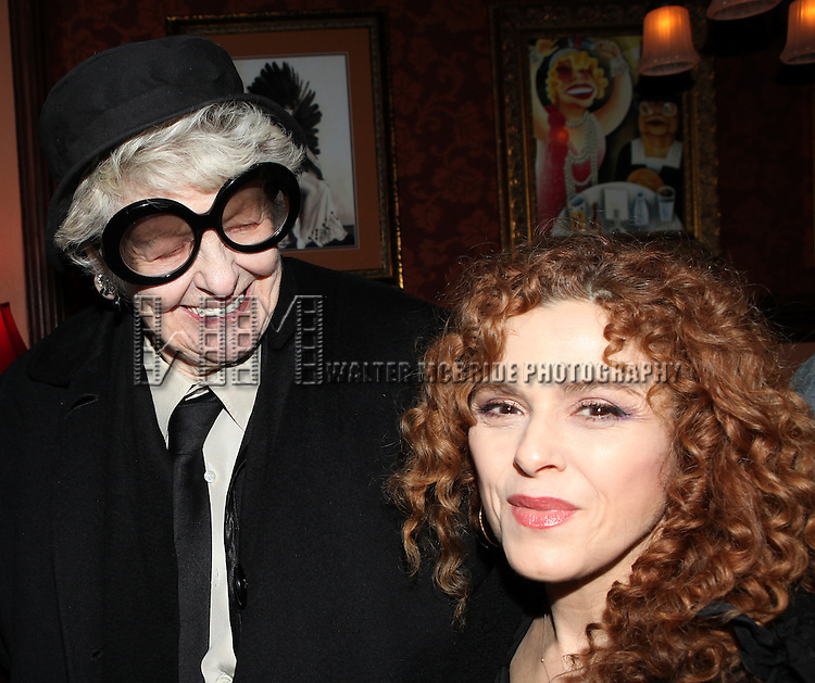 Elaine Stritch & Bernadette Peters  attending a reception celebrating Hunter's 54 Below debut with 'You Make Me Feel So Young'  in New York City on 3/25/2013