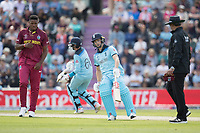 Chris Wakes (England) turns for a second during England vs West Indies, ICC World Cup Cricket at the Hampshire Bowl on 14th June 2019