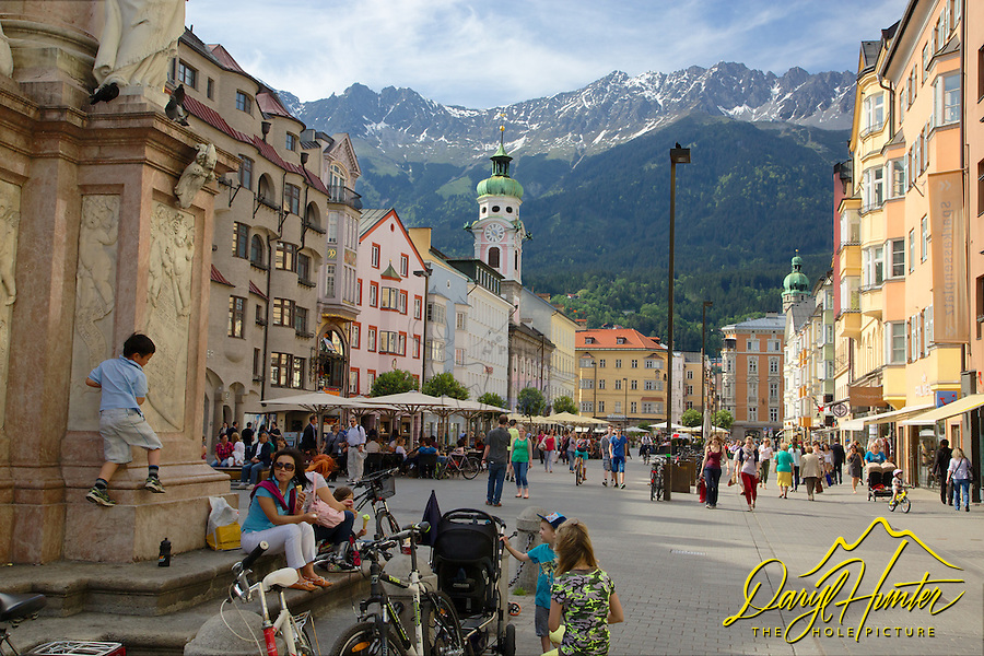Family, tourists, old town, Innsbruck Austria, Nordkette Mountain,