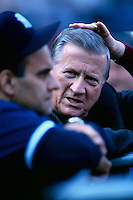 New York Yankees Owner George Steinbrenner talks with Yankees Manager Joe Torre before the 1998 World Series against the San Diego Padres at Qualcomm Stadium in San Diego, California. (Larry Goren/Four Seam Images)