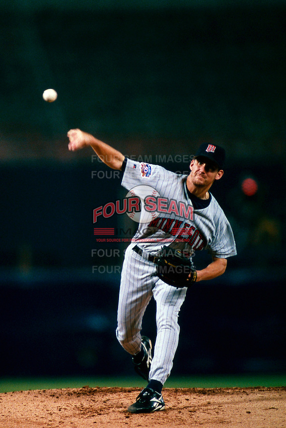 Brad Radke of the Minnesota Twins during a game at Anaheim Stadium in Anaheim, California during the 1997 season.(Larry Goren/Four Seam Images)
