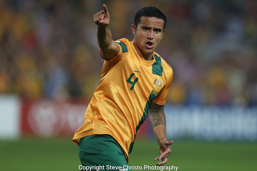 2014 FIFA World Cup Brazil, Asian Qualifiers. Australia v Oman ANZ Stadium. Socceroos Tim Cahill celebrates his goal during the match.  Sydney, Australia. Tuesday 26th March 2013. Photo: (Steve Christo)