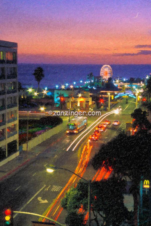 Santa Monica CA, Pacific Park Pier, Fiery Sunset, Fine Art Print, Photo texture Impresso, Digital oil painted texture,  Beautiful, Unique