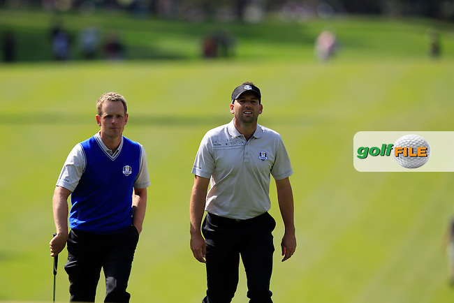 European Team players Luke Donald (ENG) and Sergio Garcia (ESP) walk onto the 4th green during Wednesday's Practice Day of the 39th Ryder Cup at Medinah Country Club, Chicago, Illinois 26th September 2012 (Photo Eoin Clarke/www.golffile.ie)