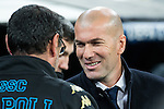 Maurizio Sarri coach Maurizio Sarri coach and Zinedine Zidane coach  of Real Madrid  during the match of Champions League between Real Madrid and SSC Napoli  at Santiago Bernabeu Stadium in Madrid, Spain. February 15, 2017. (ALTERPHOTOS)