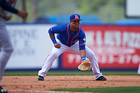 St. Lucie Mets third baseman Jhoan Urena (13) during a game against the Brevard County Manatees on April 17, 2016 at Tradition Field in Port St. Lucie, Florida.  Brevard County defeated St. Lucie 13-0.  (Mike Janes/Four Seam Images)