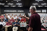 Mississippi State University head football coach Joe Moorhead speaks to members of Toyota Motor Manufacturing Mississippi Inc.'s leadership team on Wednesday [Feb. 21] at the Leo Seal Jr. Football Complex. In addition to touring the Seal building and Davis Wade Stadium, the Toyota leaders toured MSU's Center for Advanced Vehicular Systems and met with university leaders to discuss potential partnerships.<br />