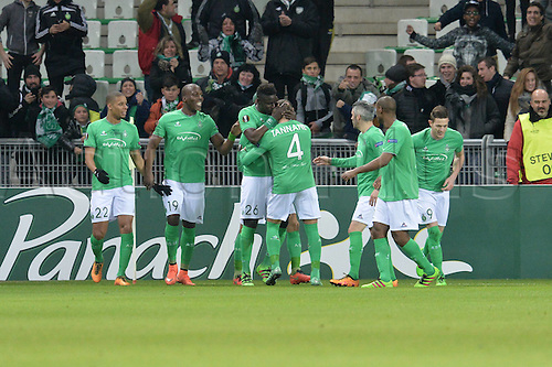 18.02.2016. Saint Etienne, France. UEFA Europa League. Saint Etienne versus FC Basel. Moustapha Sall (saint etienne) and team mates celebrate his goal