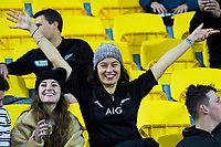 Fans in the grandstand during the Rugby Championship rugby union match between the New Zealand All Blacks and South Africa Springboks at Westpac Stadium in Wellington, New Zealand on Saturday, 27 July 2019. Photo: Dave Lintott / lintottphoto.co.nz