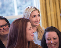 Presidential Advisor Ivanka Trump listens during a ceremony where United States President Donald. J. Trump signs H.R. 1865, the &quot;Allow States and Victims to Fight Online Sex Trafficking Act of 2017&quot; at The White House in Washington, DC, April 11, 2018. <br /> CAP/MPI/CNP/RS<br /> &copy;RS/CNP/MPI/Capital Pictures