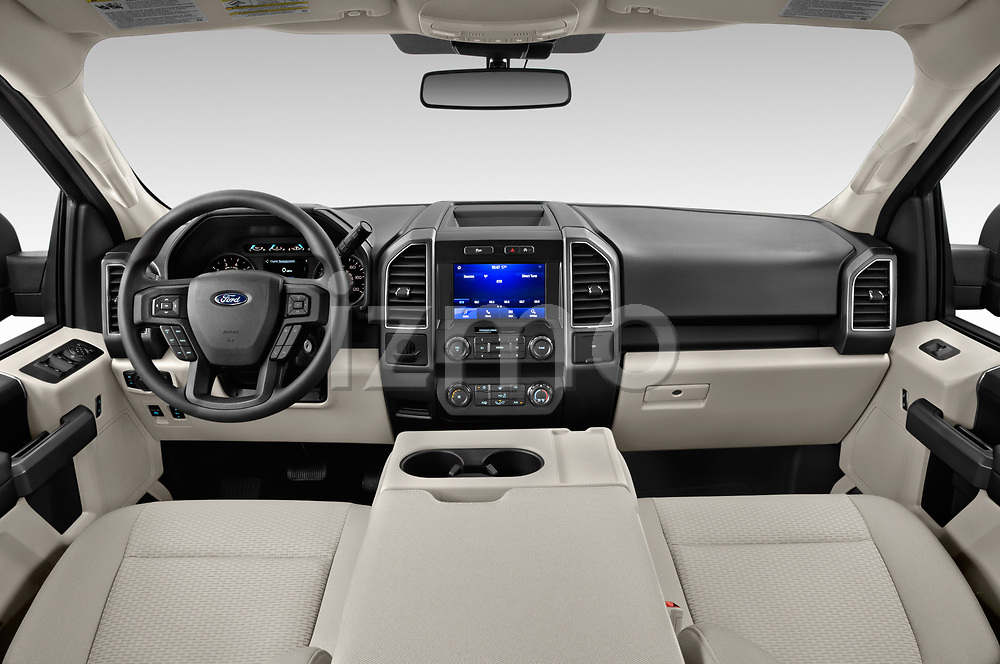 Stock photo of straight dashboard view of a 2020 Ford F-150 XLT 4 Door Pick Up