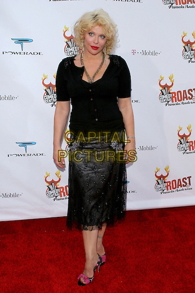 COURTNEY LOVE.Comedy Central Roast of Pamela Anderson,.Culver City, 7th August 2005.full length black lace skirt cardigan top open toe pink bow high heel sandals shoes long silver earrings necklace red lips.www.capitalpictures.com.sales@capitalpictures.com.© Capital Pictures.