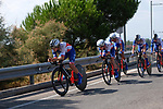 FDJ Nouvelle-Aquitaine Futurscope team in action during Stage 1 of the Madrid Challenge by La Vuelta, a team time trial running 12.6km from Boadilla del Monte to Boadilla del Monte, Spain. 15th September 2018.                   <br /> Picture: Unipublic/Vicent Bosch | Cyclefile<br /> <br /> <br /> All photos usage must carry mandatory copyright credit (&copy; Cyclefile | Unipublic/Vicent Bosch)