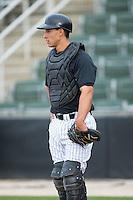 Kannapolis Intimidators catcher Seby Zavala (21) during fielding practice at Kannapolis Intimidators Stadium on April 6, 2016 in Kannapolis, North Carolina.  (Brian Westerholt/Four Seam Images)
