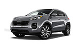 Stock pictures of low aggressive front three quarter view of a 2019 KIA Sportage EX 5 Door SUV
