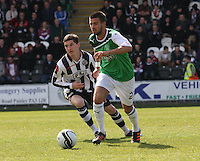 George Francomb beats Kenny McLean in the St Mirren v Hibernian Clydesdale Bank Scottish Premier League match played at St Mirren Park, Paisley on 29.4.12.