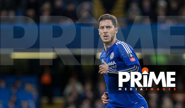 Eden Hazard of Chelsea during the FA Cup 5th round match between Chelsea and Manchester City at Stamford Bridge, London, England on 21 February 2016. Photo by Andy Rowland.