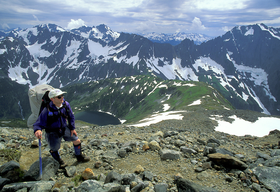 Climber on Sahale Arm, North Cascades National Park, Washington.
