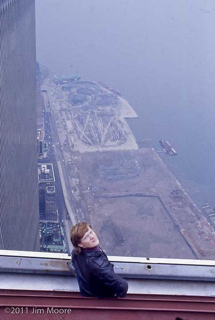 Philipe Petit on edge of North Tower of WTC.
