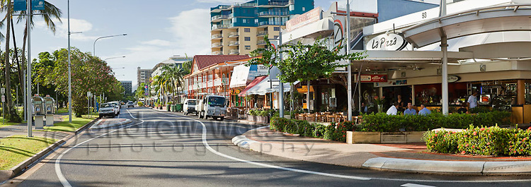 View along the bar and restaurant district of the Esplanade.  Cairns, Queensland, Australia