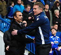 Sheffield Wednesday manager Jos Luhukay, left, and Bolton Wanderers manager Phil Parkinson shake hands before kick off<br /> <br /> Photographer Chris Vaughan/CameraSport<br /> <br /> The EFL Sky Bet League Two - Mansfield Town v Lincoln City - Tuesday 6th March 2018 - Field Mill - Mansfield<br /> <br /> World Copyright &copy; 2018 CameraSport. All rights reserved. 43 Linden Ave. Countesthorpe. Leicester. England. LE8 5PG - Tel: +44 (0) 116 277 4147 - admin@camerasport.com - www.camerasport.com