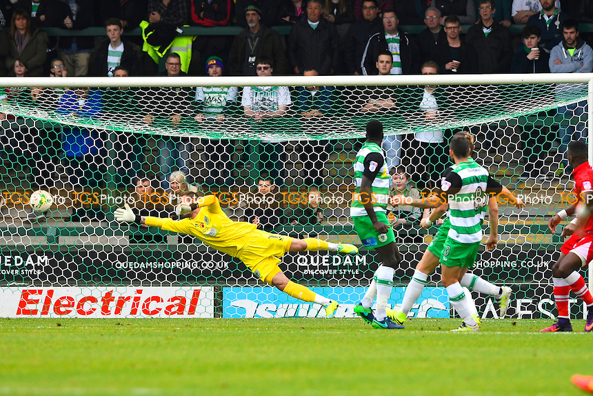 Tom Bolarinwa of Grimsby Town right is just wide with a shot as Artur Krysiak of Yeovil Town dives during Yeovil Town vs Grimsby Town, Sky Bet EFL League 2 Football at Huish Park on 29th October 2016