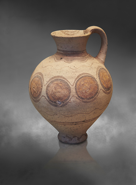 Mycenaean pot with cycladic style design , Grave Circle B, Mycenae 17-16thj Cent BC. National Archaeological Museum Athens.  Grey art Background <br /> <br /> Bichromatic Cycladic style depicying circles. Cat No 8614