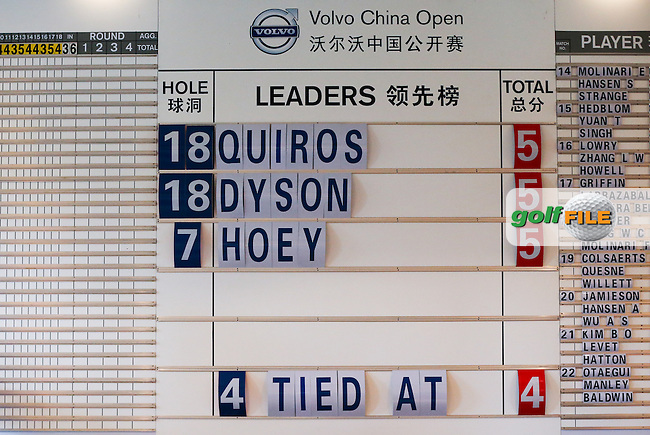The leaders, Alvaro Quiros (ESP) and Simon Dyson (ENG) after the morning's play during Round One of the 2014 Volvo China Open, Genzon Golf Club, Shenzhen, China. Picture:  David Lloyd / www.golffile.ie