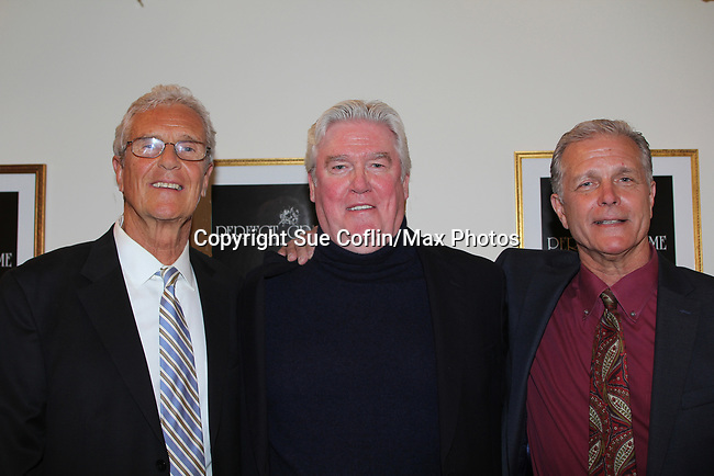"""All My Children's Richard Shoberg stars as """"Inspector James Ascher"""" in Perfect Crime - 30th Anniversary off-Broadway on April 18, 2017 at Bernstein Theatre, New York City, New York. Also in photo are Armand Hyatt (Executive Producer) left and David Butler (C). (Photo by Sue Coflin/Max Photos)"""