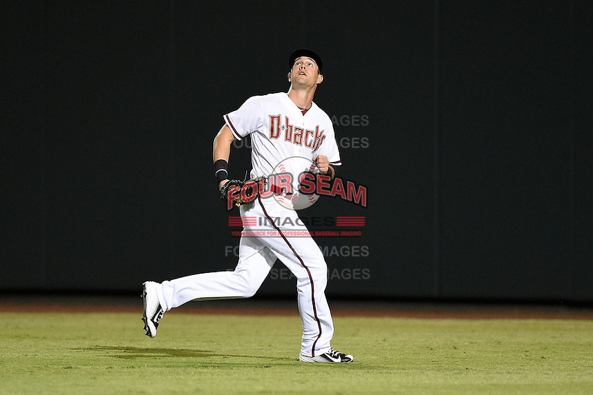 Salt River Rafters outfielder Evan Marzilli (27) during an Arizona Fall League game against the Scottsdale Scorpions on October 7, 2014 at Salt River Fields at Talking Stick in Scottsdale, Arizona.  Scottsdale defeated Salt River 7-4.  (Mike Janes/Four Seam Images)