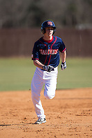 Levi Varner (3) of the Shippensburg Raiders hustles towards third base against the Belmont Abbey Crusaders at Abbey Yard on February 8, 2015 in Belmont, North Carolina.  The Raiders defeated the Crusaders 14-0.  (Brian Westerholt/Four Seam Images)