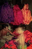 Simple Silk production with many colors in the rural area of Myanmar