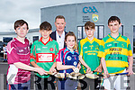 Tim Murphy County Board Chairman launching the 2019 Feile at the Kerry Centre of Excellence on Thursday evening with young hurlers l-r: Cillian Quilter, Sean McElligott, Holly Adair, Conor Nolan and Sean Finnegan