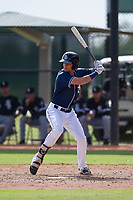 Justin Lopez (50) of the San Diego Padres at bat during an Instructional League game against the Chicago White Sox on September 26, 2017 at Camelback Ranch in Glendale, Arizona. (Zachary Lucy/Four Seam Images)