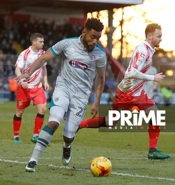 Grimsby's Adi Yussuf on the ball during the Sky Bet League 2 match between Stevenage and Grimsby Town at the Lamex Stadium, Stevenage, England on 28 January 2017. Photo by Carlton Myrie / PRiME Media Images.