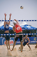 Beach volleyball is a popular sport in Australia, which is fringed by thousands of miles of wonderful beaches. This shot shows action during a championship match at Manly Beach in Sydney.
