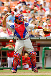 11 June 2006: Sal Fasano, catcher for the Philadelphia Phillies, tosses the ball back to the mound during a game against the Washington Nationals at RFK Stadium, in Washington, DC. The Nationals shut out the visiting Phillies 6-0 to take the series three games to one...Mandatory Photo Credit: Ed Wolfstein Photo..