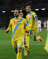 Gonzalo Higuain   celebrates after scoring  <br /> <br />  UEFA Europa League round of 32 second  leg match, betweenAC  Napoli  and Swansea City   at San Paolo stadium in Naples, Feburary 27 , 2014  <br /> <br />  Esultanza