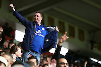 A passionate Leicester fan celebrates his sides fourth goal during the Barclays Premier League match between Leicester City and Swansea City played at The King Power Stadium, Leicester on April 24th 2016