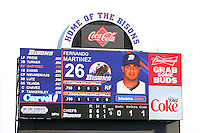 Buffalo Bisons outfielder Fernando Martinez featured on the new scoreboard during a game against the Syracuse Chiefs at Dunn Tire Park on April 7, 2011 in Buffalo, New York.  The Bisons have the largest scoreboard in minor league baseball.  Syracuse defeated Buffalo 8-5.  Photo By Mike Janes/Four Seam Images