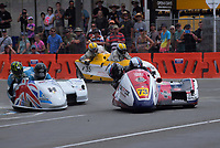 John Holden / Robbie Shorter (H) and Barry Smith / Tracey Bryan compete in the F1-F2 Sidechairs. The 2018 Suzuki series Cemetery Circuit motorcycle racing at Cooks Gardens in Wanganui, New Zealand on Wednesday, 28 December 2018. Photo: Dave Lintott / lintottphoto.co.nz