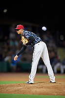 Jacksonville Jumbo Shrimp relief pitcher Jorgan Cavanerio (18) looks in for the sign during a game against the Mobile BayBears on April 14, 2018 at Baseball Grounds of Jacksonville in Jacksonville, Florida.  Mobile defeated Jacksonville 13-3.  (Mike Janes/Four Seam Images)