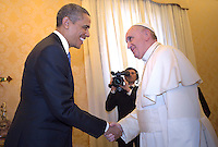 Pope Francis during a meeting with U.S. President Barack Obama  a private audience in his private library at the Vatican on March 27, 2014.