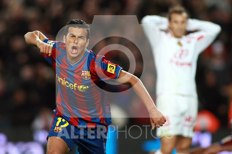 Football Season 2009-2010. Barcelona's player Pedro Rodriguez celebrating his second goal during the Spanish first division soccer match at Camp Nou stadium in Barcelona November 07, 2009.