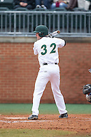 Eddie Hull (32) of the Charlotte 49ers at bat against the Akron Zips at Hayes Stadium on February 22, 2015 in Charlotte, North Carolina.  The Zips defeated the 49ers 5-4.  (Brian Westerholt/Four Seam Images)