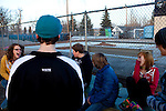 Kendrick Brinson.LUCEO..Ashley Thorton (left), 13,  laughs with friends including Trevor White, 14, Jacob Clark (in hoodie), Ben Putman (blue jacket), 14, Randie Shipp (pink), 13, Robbie Renolds, (stripes), 14, at the Williston Skatepark in Williston, North Dakota, January 2012. Williston is currently experiencing an influx of people relocating there for the town's third oil boom. ..Model Released: no.Assigning Editor: Michael Wichita.