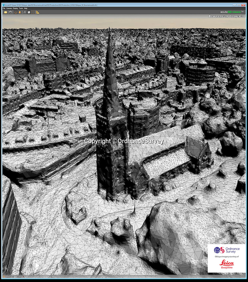 BNPS.co.uk (01202 558833)<br /> Pic: OrdnanceSurvey/BNPS<br /> <br /> Extraordinary 3D map of Bournemouth is being created.<br /> <br /> Bournemouth set to lead the 5G revolution...<br /> <br /> A world first 5G initiative taking place in Britain is set to make flaky mobile connections a thing of the past. <br /> <br /> The Ordnance Survey is developing a planning and mapping tool vital to the national rollout of the next generation of wireless communications. <br /> <br /> Bournemouth in Dorset is the guinea pig for a 'digital twin' of the real world, which will be used to determine prime locations to place radio antennae to discover what inhibits the 5G technology from being able to communicate.