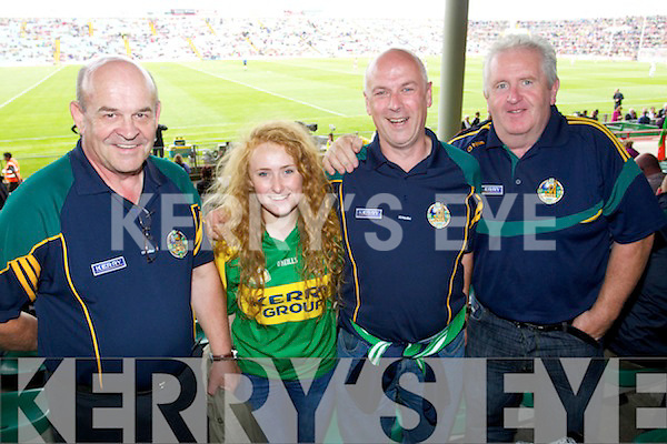 Tom O'Keeffe, Gneeveguilla, Sadhbh Keating, Tralee, John Keating, Tralee and PJ Murphy Tralee Kerry fans at the Kerry v Mayo in the Senior All Ireland Semi Final in Limerick on Saturday.