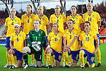 Sweden. Back Row from left: Anna Paulson, Lotta Schelin, Caroline  Seger, Charlotte Rohlin, Therese Sjögran, Nilla Fischer. Front row from left: Sara Thunebro, Hedvig Lindahl, Victoria Svensson, Stina Segerström, Kosovare Asllani. QF, Sweden-Norway, Women's EURO 2009 in Finland, 09042009, Helsinki Football Stadium.
